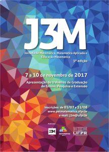 Pôster colorido com o texto J3M em letras grandes e informações sobre o evento em letras menores.